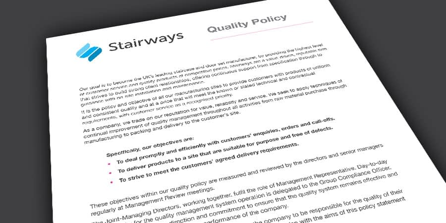 Stairways Quality Policy